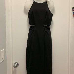 Badgley Mischka Collection LBD with cut outs.